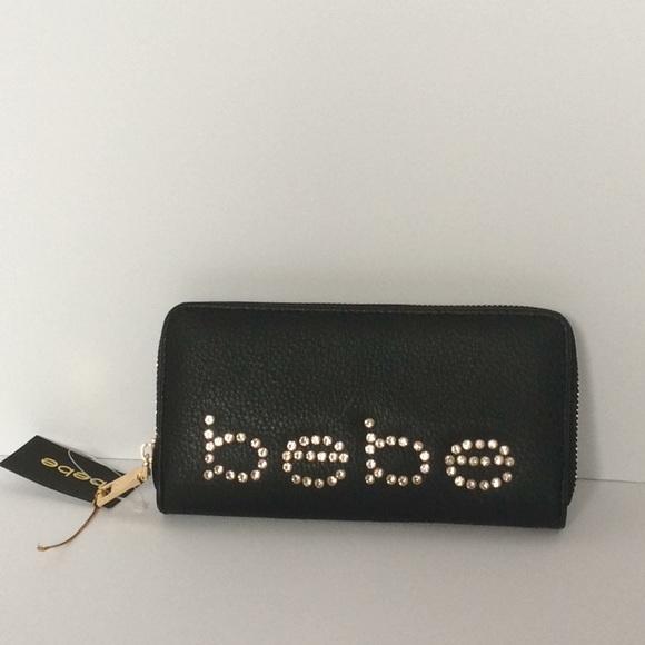 bebe Handbags - Bebe Rhinestone Zip Around Wallet